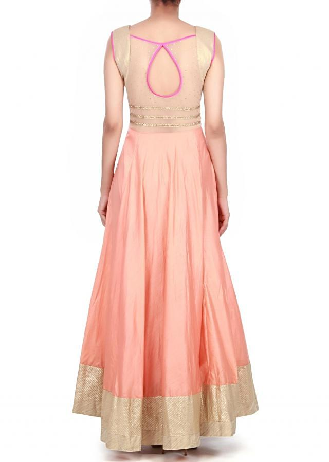 Peach anarkali suit embellished in zardosi neckline only on kalki