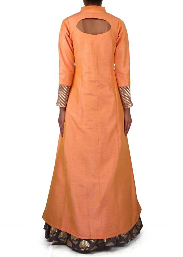 Peach anarkali suit enhanced in zardosi butti only on Kalki