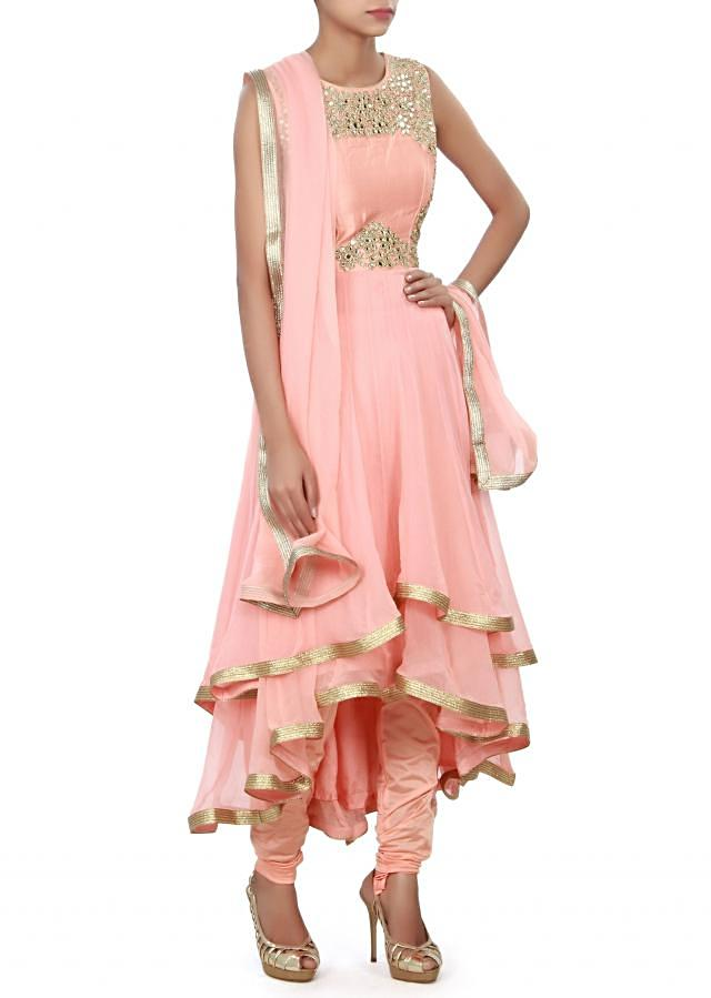 Peach anarkali suit features in double layer only on Kalki