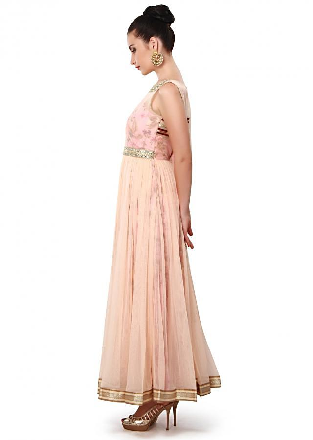 Peach anarkali suit features with embroidered neckline only on Kalki