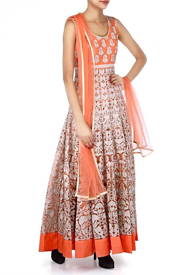 Peach anarkali suit featuring in resham embroidery only on Kalki