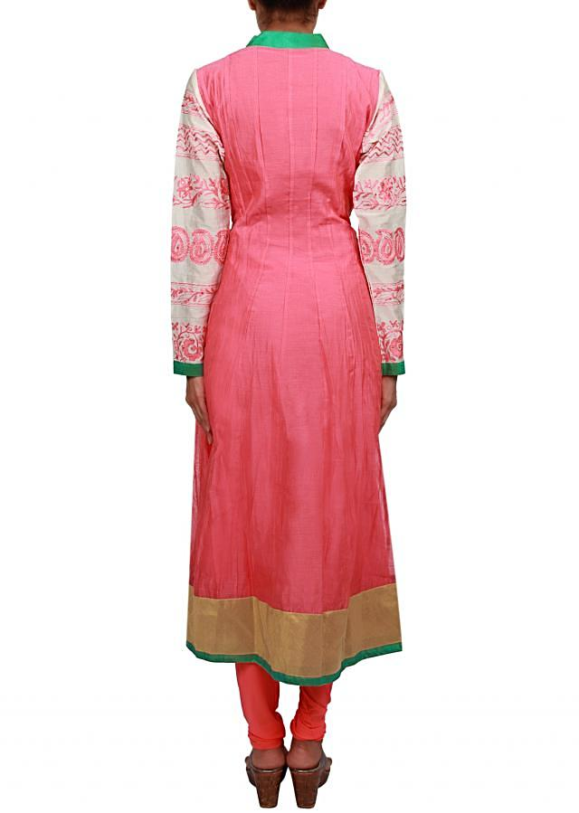 Peach anarkali suit featuring with embroider sleeve. only on Kalki