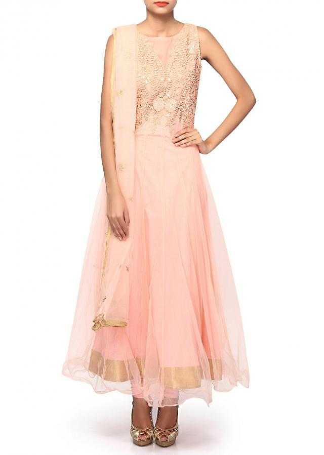 Peach anarkali suit featuring with resham bodice only on Kalki