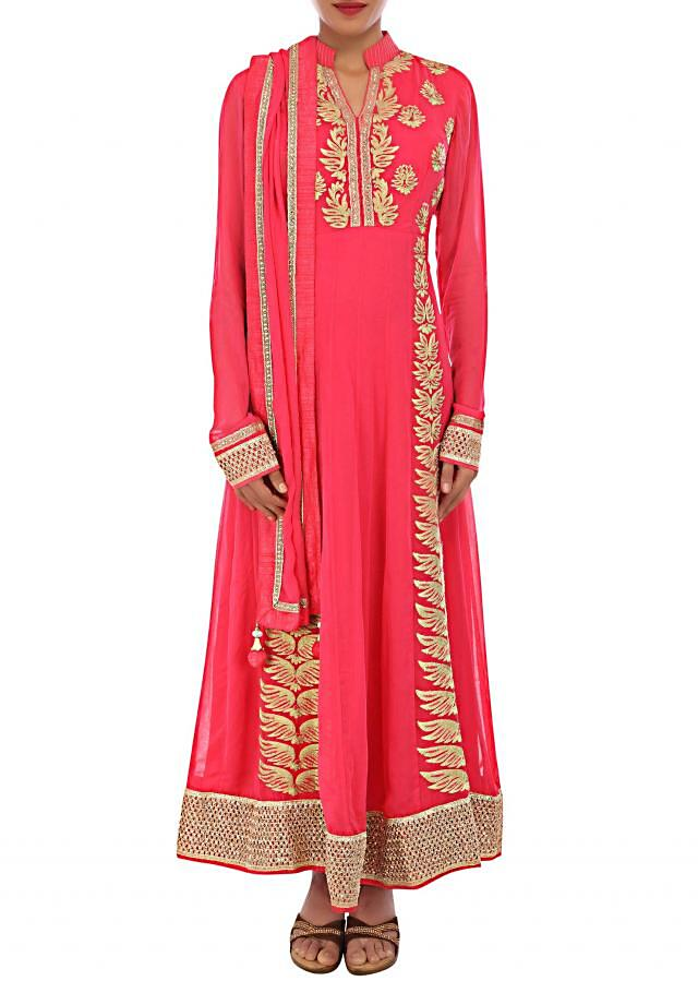 Peach anarkali suit featuring with zari and resham embroidery only on Kalki