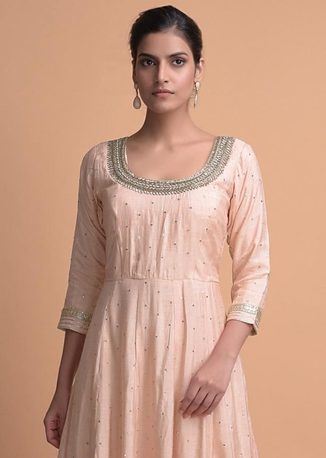 Peach Anarkali Suit In Cotton Silk With Sequins And Zari Buttis All Over Online - Kalki Fashion