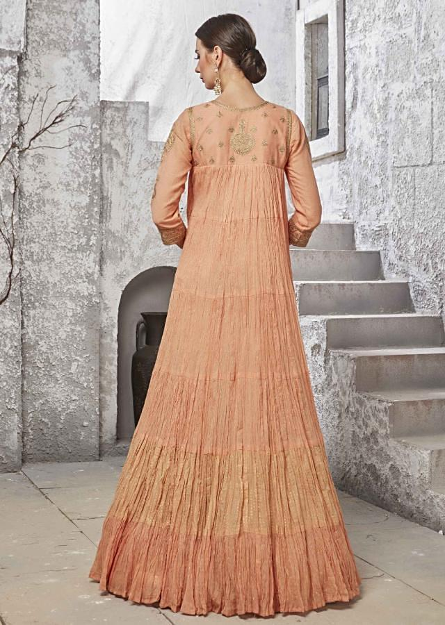 Peach Anarkali Suit In Crush Silk With Embroidered Yoke And Foil Printed Dupatta Online - Kalki Fashion