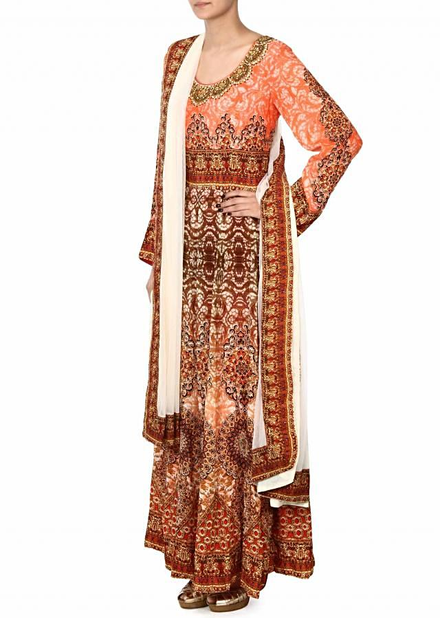 Peach anarkali suit in digital print and kundan only on Kalki