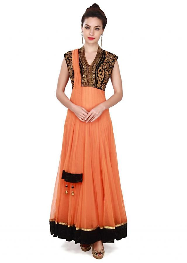 Peach anarkali suit in embroidered yoke only on Kalki