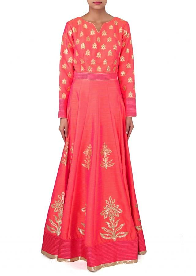 Peach anarkali suit in gotta patch embroidery only on Kalki