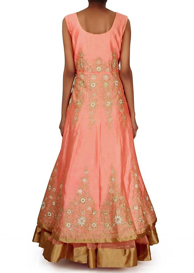 Peach anarkali suit in resham and zari embroidery only on Kalki