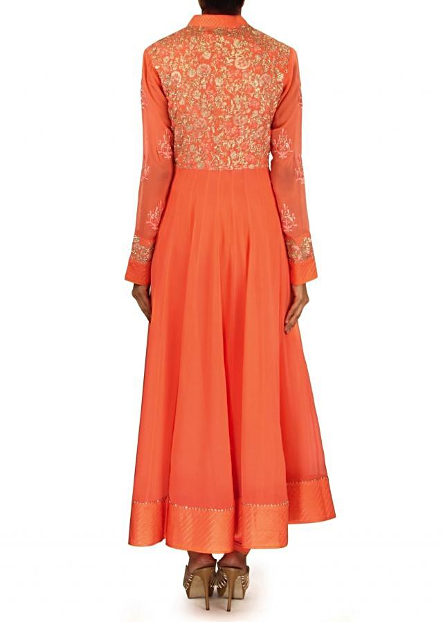 Peach anarkali suit with resham and zari jacket only on Kalki