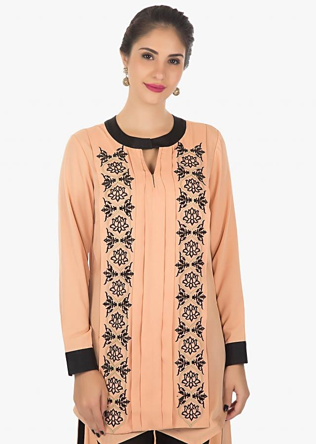 Peach and black kurti featuring in velvet patch only on Kalki