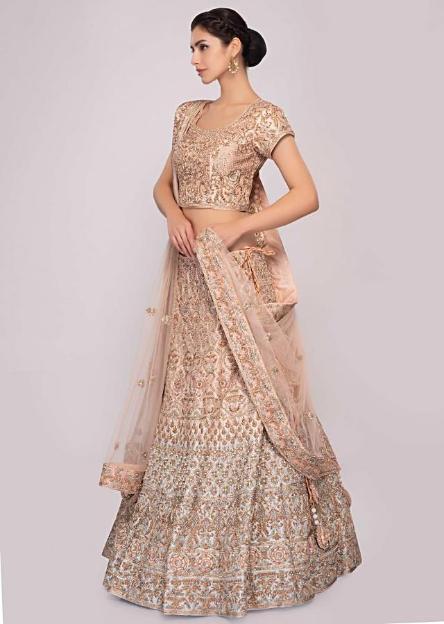 Peach And Blue Lehenga In Shaded Raw Silk Paired With Matching Embroidered Blouse And Net Dupatta Online - Kalki Fashion