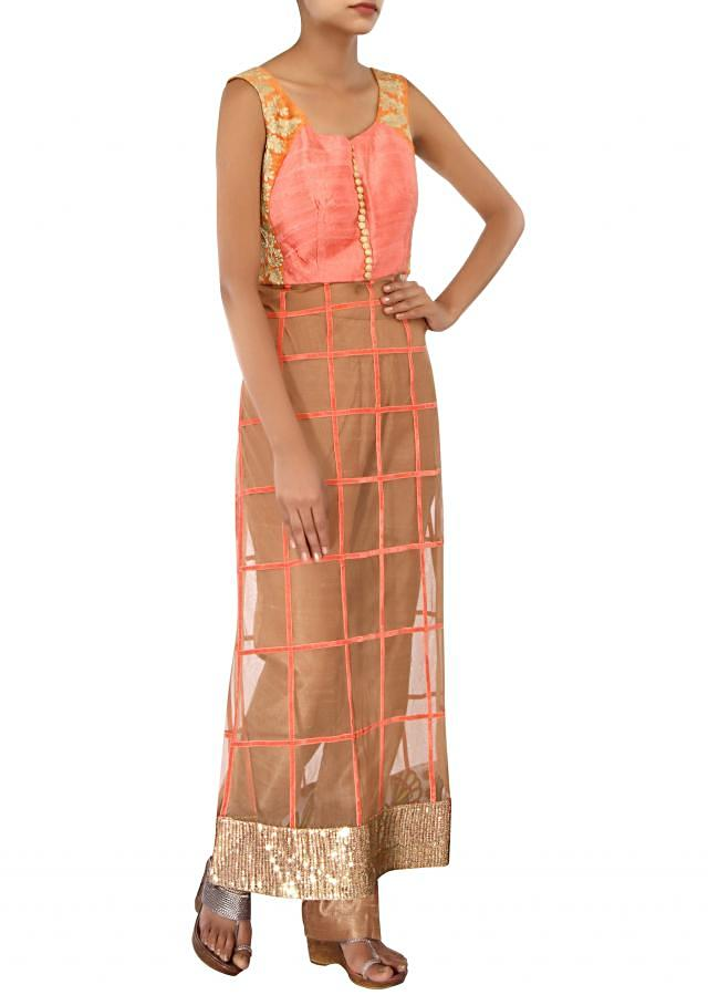 Peach and brown straight suit adorn in zari embroidery only on Kalki