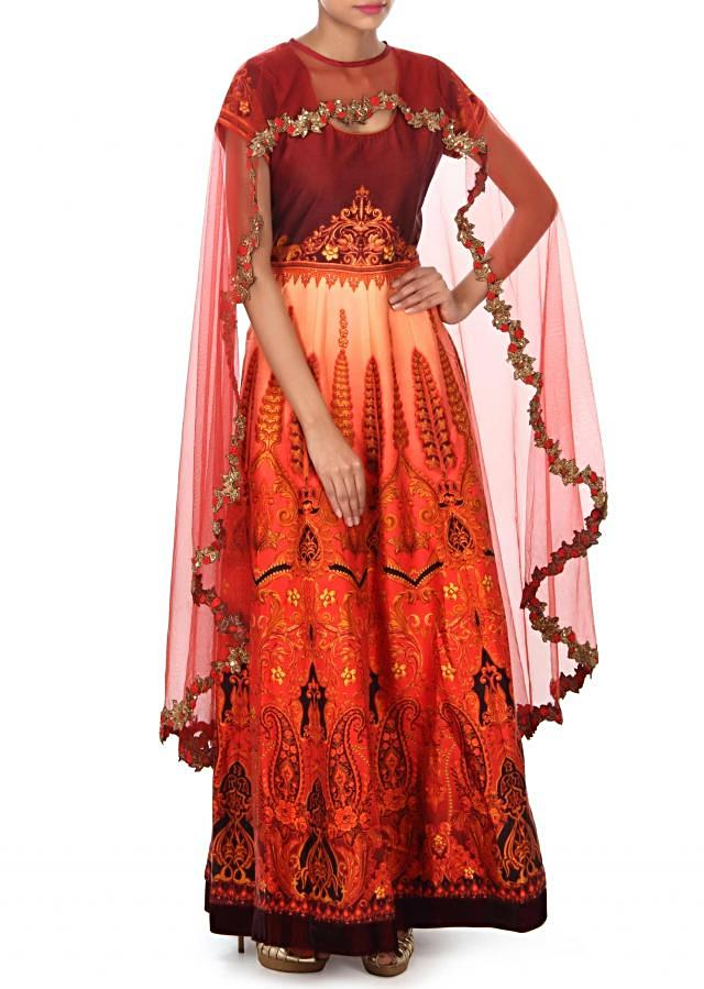 Peach and coral anarkali suit in digital print only on Kalki
