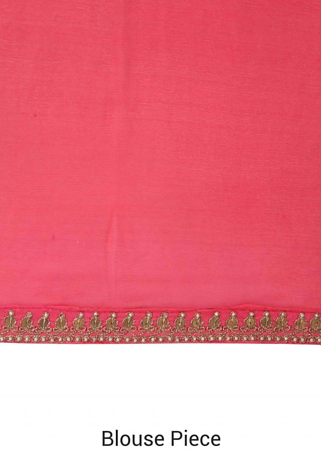 Peach and coral shaded saree with zari border only on Kalki