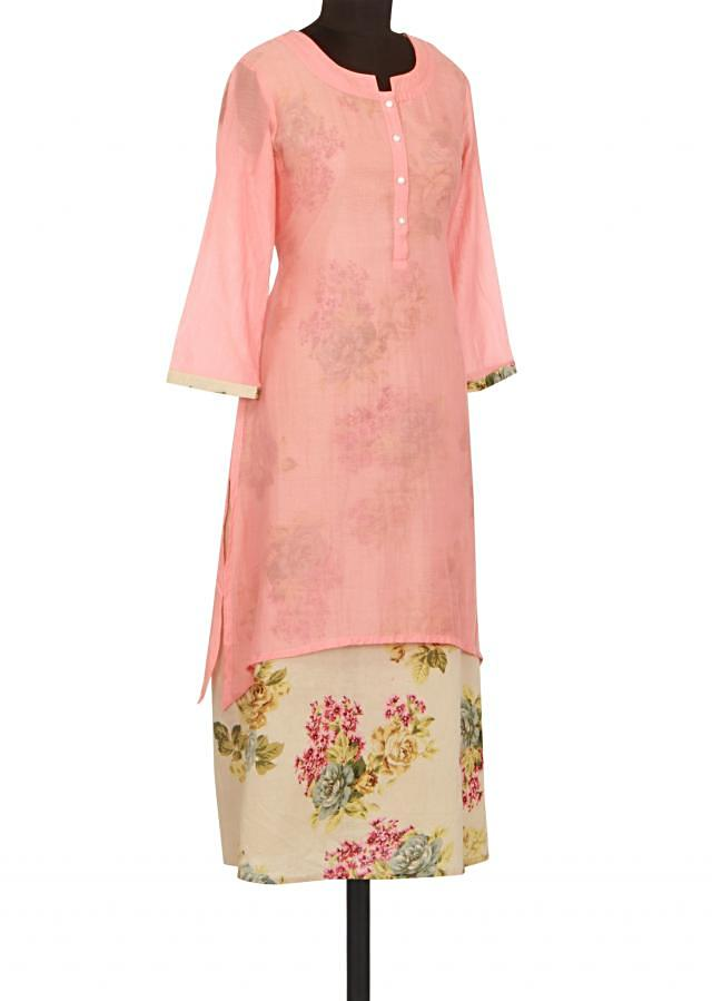 Peach and cream kurti in floral print only on Kalki