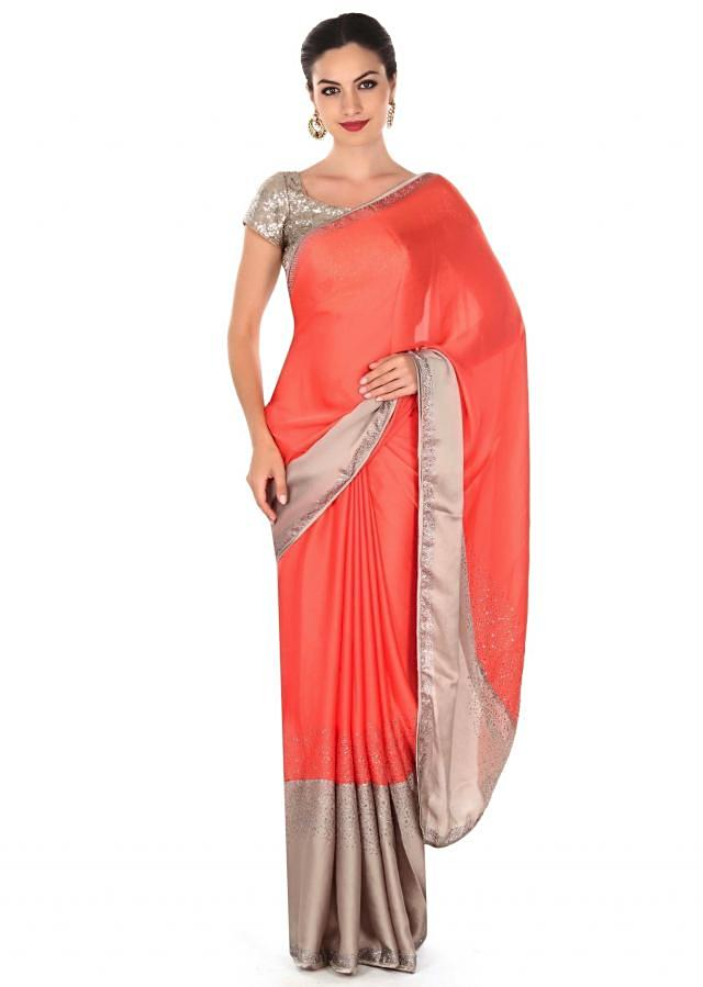Peach and grey saree adorn in kundan embroidery only on Kalki