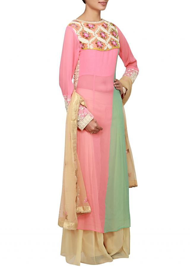 Peach and holiday green georgette a-line salwar kameez embellished in resham and pearl only on Kalki