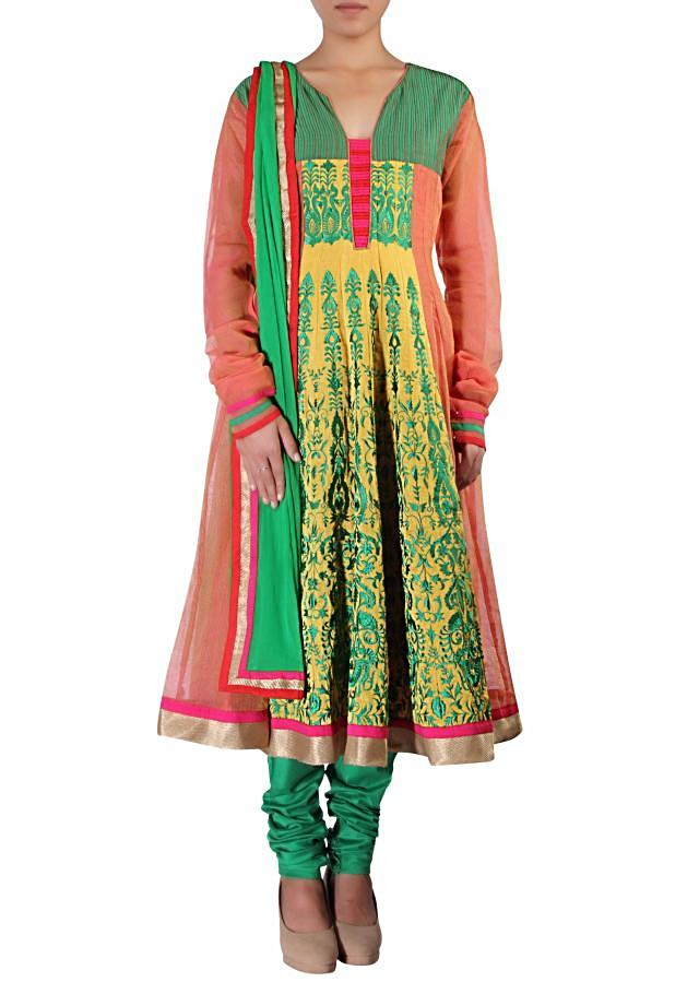 Peach and lime yellow anarkali suit embellished in resham embroidery only on Kalki