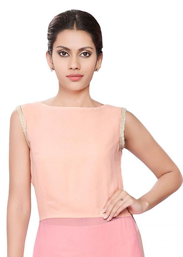 Peach and pink tunic with moti embroidery on armhole