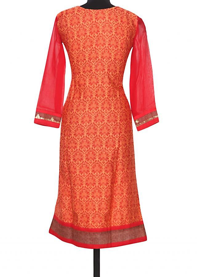 Peach and red printed kurti with gotta work only on Kalki
