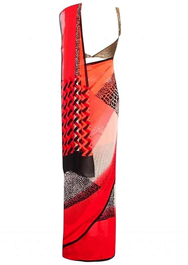 Peach and red shaded saree with abstract print only on Kalki