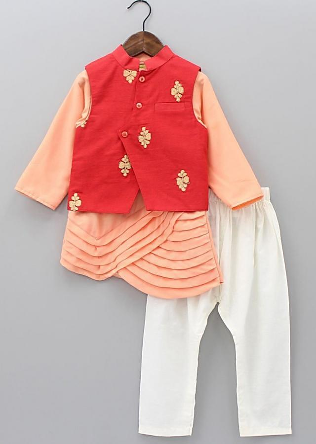 Peach Asymmetric Kurta Matched With Red Embroidered Jacket And Cotton Pants Online - Kalki Fashion