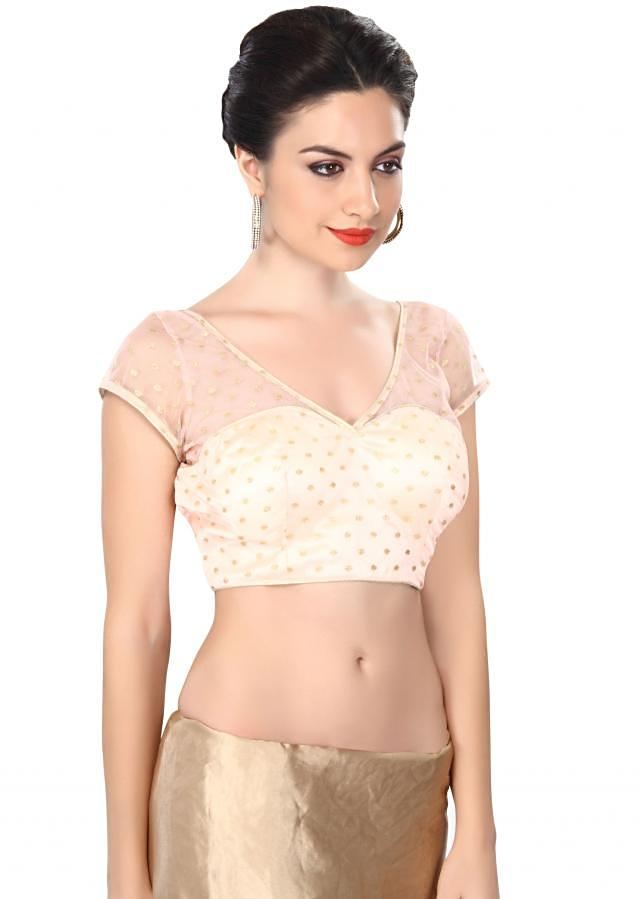 Peach blouse embellished in sequin only on Kalki