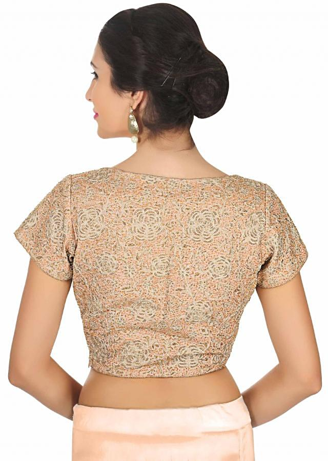 Peach blouse heavily embellished n moti and aari embroidery only on Kalki
