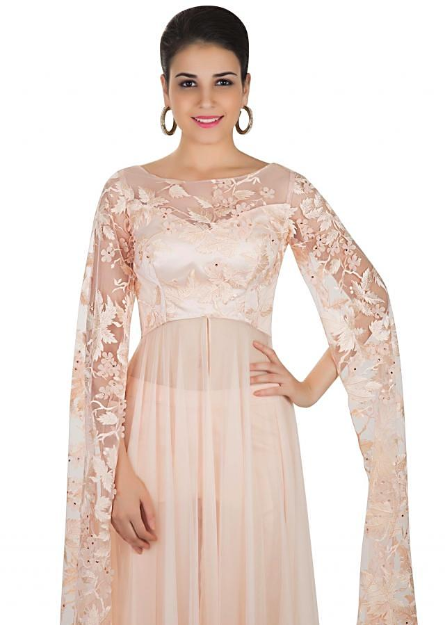 Peach Blush Top and Pants Ensemble Styled with Fancy Sleeves Only on Kalki