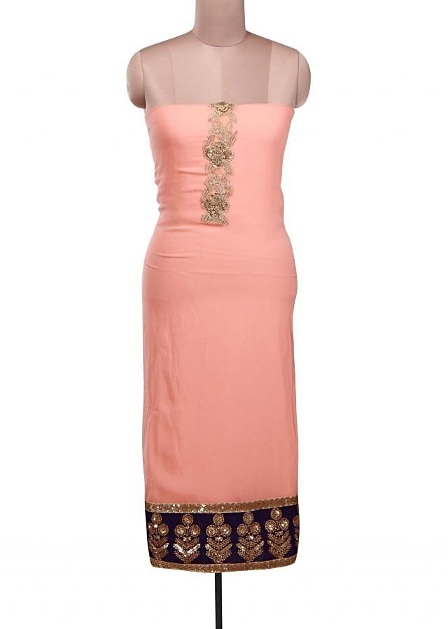 Peach bud unstitched suit adorn in zari and sequin embroidery only on Kalki
