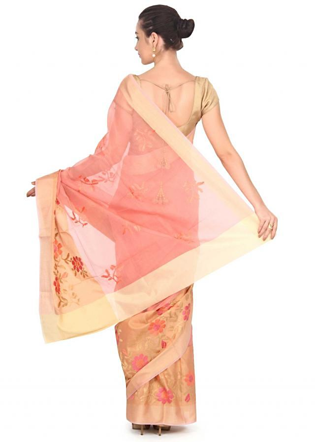 Peach chanderi saree in floral motif embroidery only on Kalki
