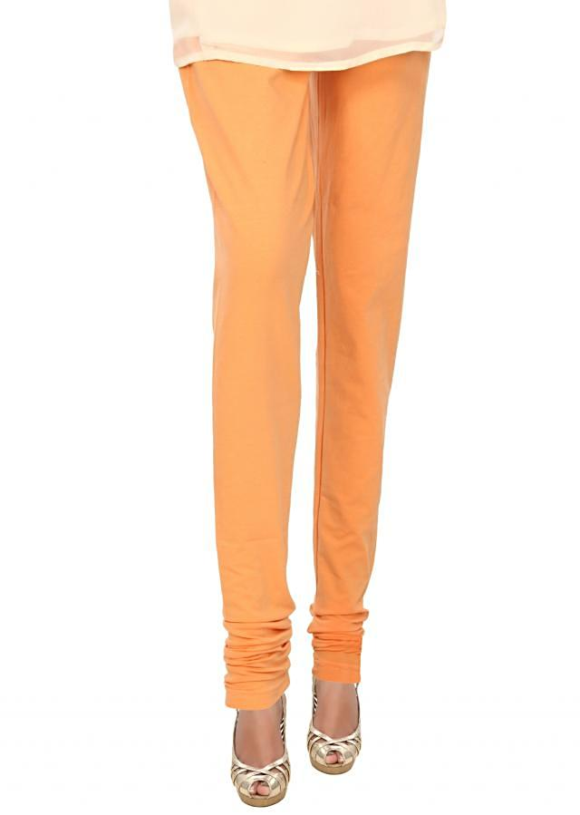 Peach cotton hosiery legging only on Kalki