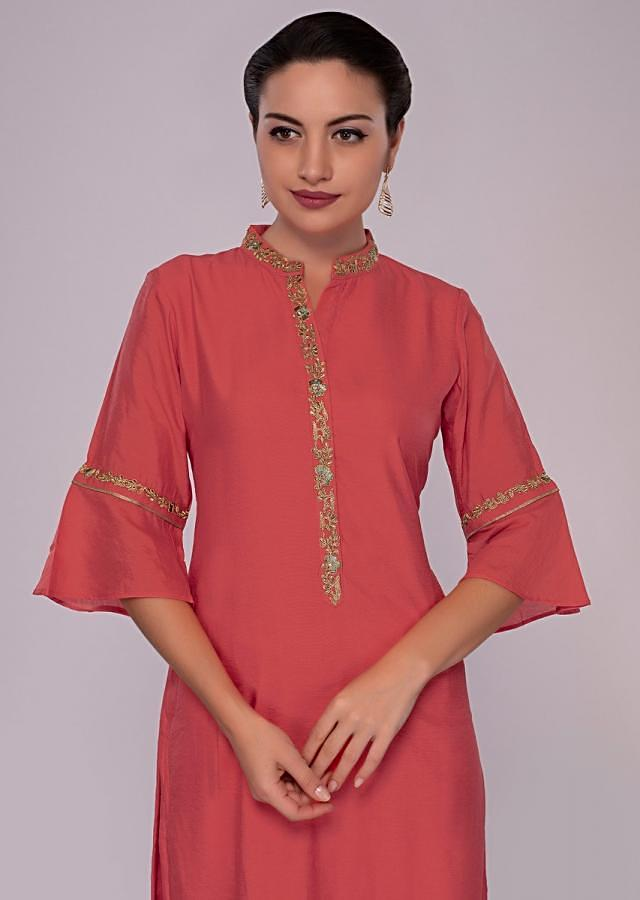 Peach cotton straight kurti with embroidered collar and placket only on kalki