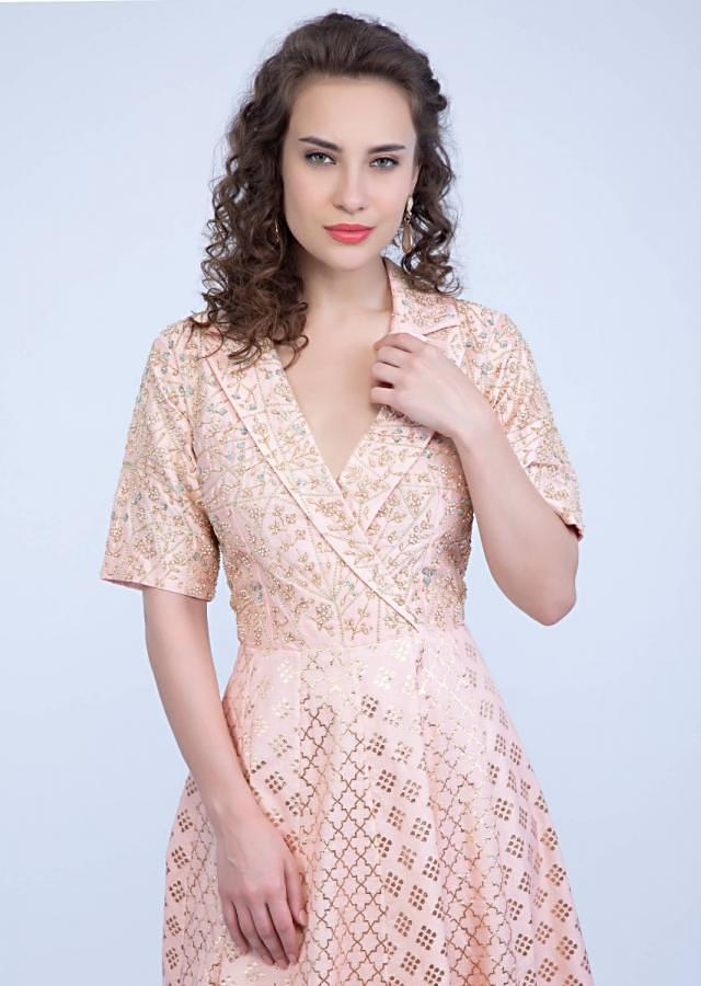 Peach cotton silk tunic dress designed with shawl collar and embroidered bodice only on Kalki