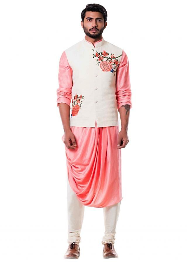 Peach Cowl Kurta with Off White Quilted Waist Coat
