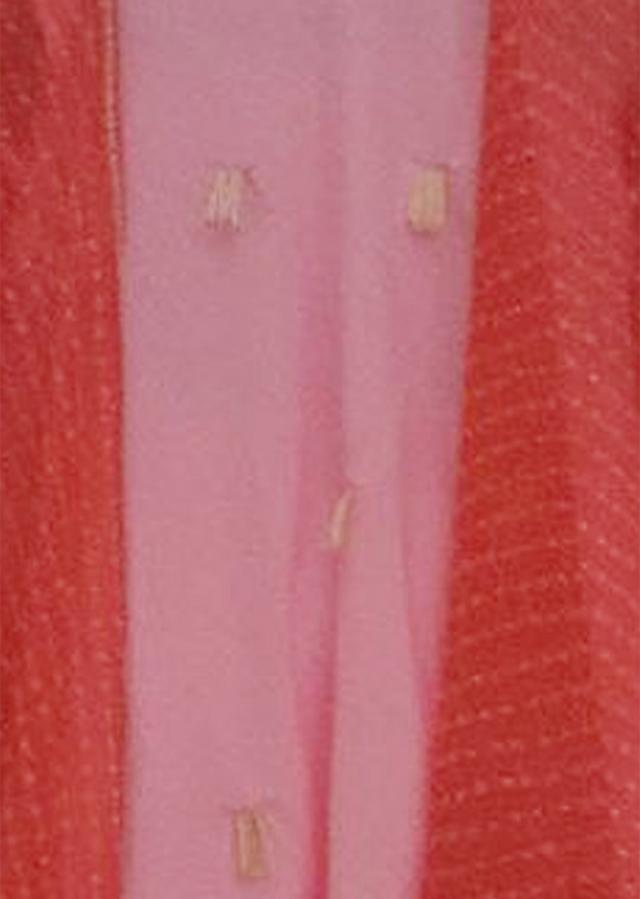 Peach Crape Top with Dhoti with Georgette Stripe Cape by Fayon Kids