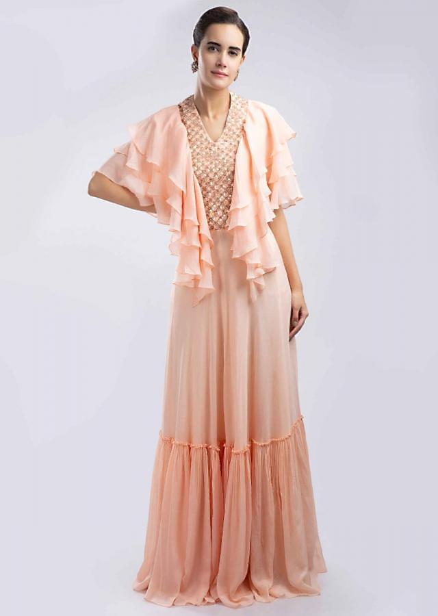 Peach Tunic Dress In Crepe With Frilled Layer Sleeves Online - Kalki Fashion
