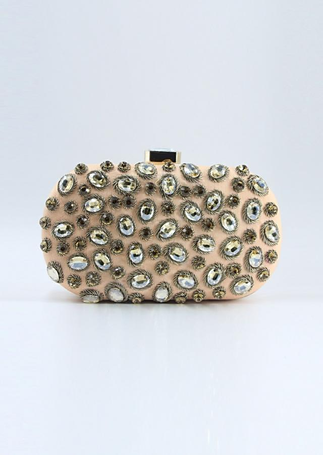 Peach curve box clutch in chanton flat back beads only on Kalki