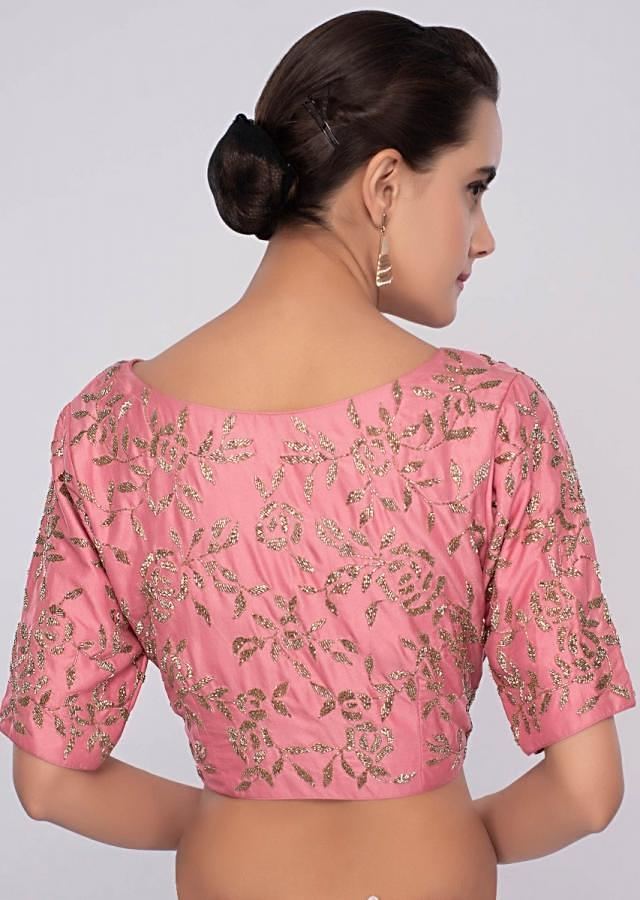 Peach Saree With Cut Dana Embroidery And Contrasting Punch Pink Blouse Online - Kalki Fashion