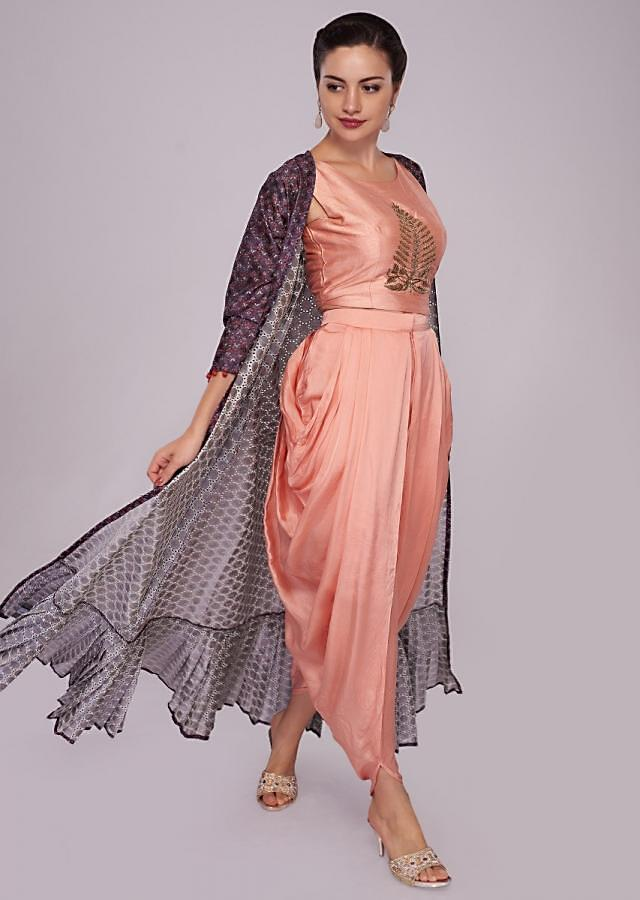 Peach dhoti set matched with grape purple jacquard jacket in floral print only on Kalki