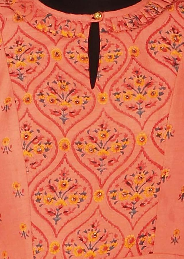 Peach dress embellished in floral printed butti only on Kalki