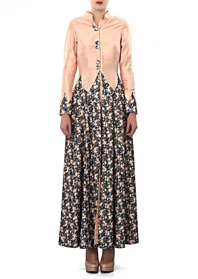 Peach dress featuring in floral print only on Kalki