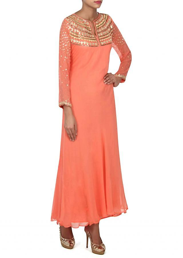 Peach dress with gotta patch work embroidery only on Kalki