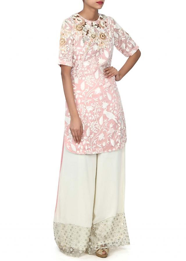 Peach embellished kurti matched with palazzo pants only on Kalki