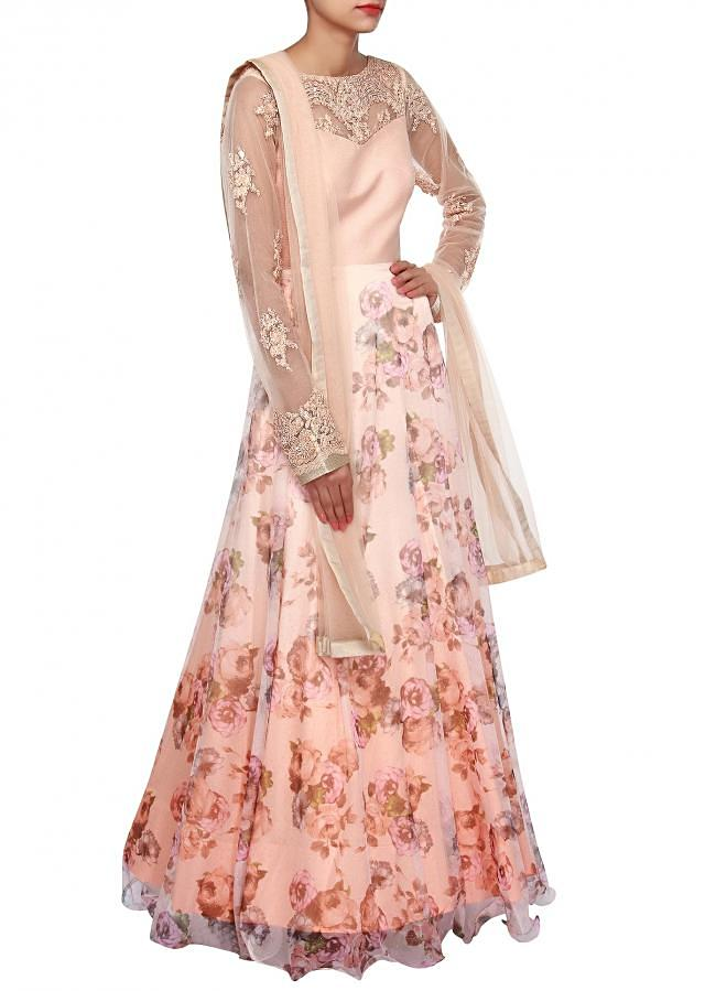Peach floral anarkali suit adorn in resham embroidery only on Kalki