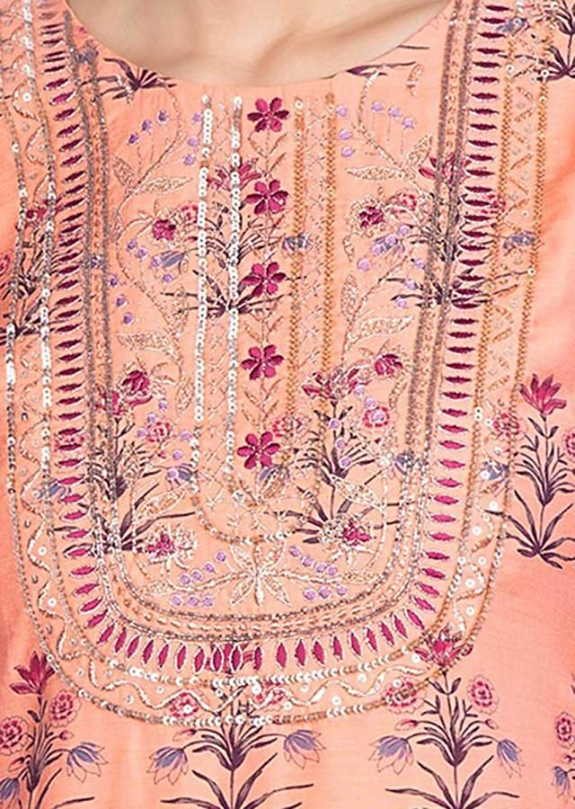 Peach Top With Floral Print And Matching Dhoti Pant Online - Kalki Fashion