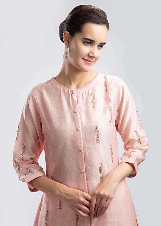 Peach High Low Suit With Satin Dhoti Pant Online - Kalki Fashion