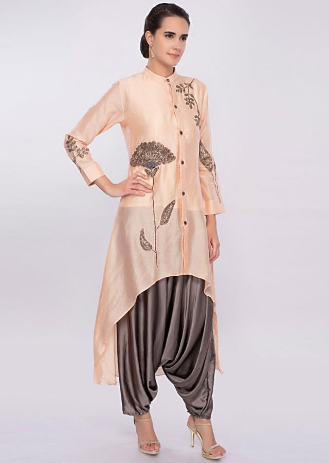 Peach High Low Top With Graphite Grey Satin Dhoti Pant Online - Kalki Fashion